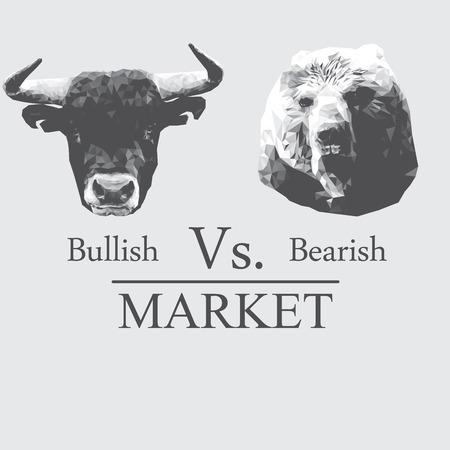bullish: Illustrazione di mercato che ha presentato in Rialzista vs ribassista