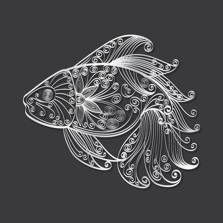 koi fish art: Hand-drawn of fish that looks like silver