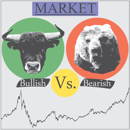 bearish market: Illustration of market that presented in Bullish vs bearish Illustration