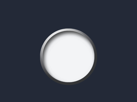 looking through an object: empty metal ellipse on a blue background for use in design