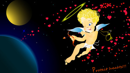 Greeting card for the Internet Valentine's Day cupid angel warns guard your heart