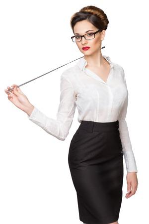 donna sexy: Giovane bella ragazza con un puntatore a punti