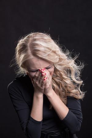 misery: Upset crying woman  tragic expression  Stock Photo