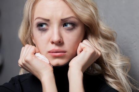 Upset crying woman  tragic expression  Foto de archivo