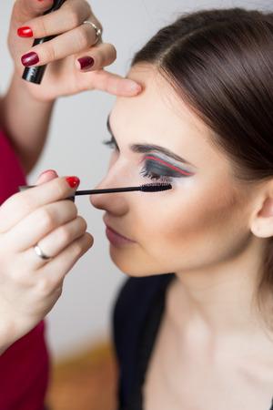 beautiful girl make-up applied   photo