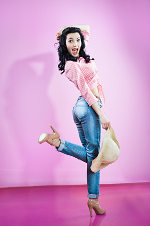 pin up girl in blue jeans
