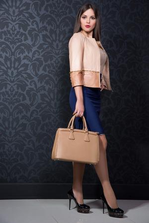 stylish girl with a bag photo