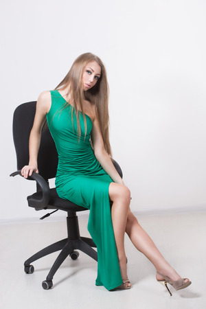 Woman in beauty fashion green dress photo