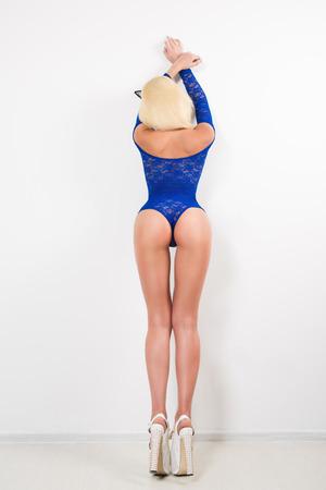 prostituta: Mujer sexy en ropa interior. con orejas de gato Foto de archivo