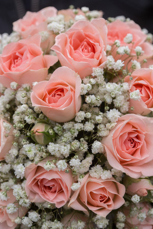 wedding bouquet of pink roses Stock Photo