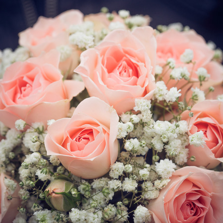 pink roses: wedding bouquet of pink roses Stock Photo