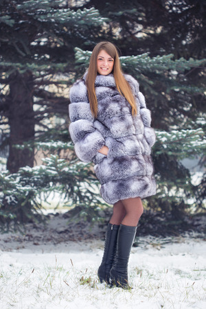 Winter Girl in Luxury Fur Coat photo