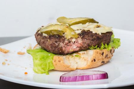 bad burger. bun, burger, salad.