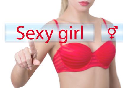 meuf sexy: femme appuyant sur la touche sexy girl Banque d'images
