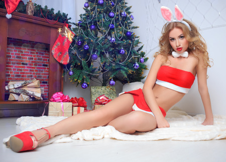 brunette wearing sexy christmas lingerie . bunny Stock Photo
