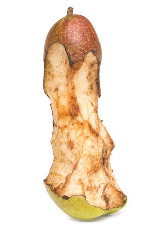 gnaw: bitten spoil pear.  white background. Stock Photo