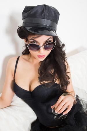 semi nude: beautiful  brunette semi nude with handcuffs