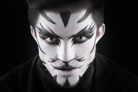animal eye: man in make-up, looks like a cat. Stock Photo