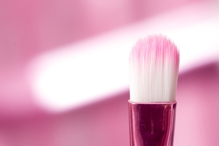 defining: close-up pink professional cosmetic brush