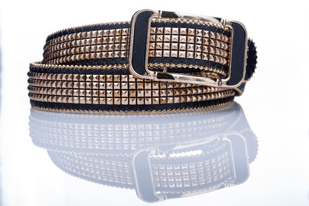 rivets: Black women style belt with metal rivets