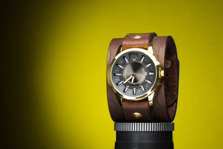 wristlet: mens gold watches with wide leather bracelet
