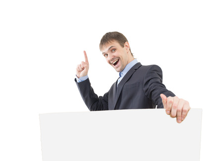 signboard: business man shows a finger  blank  signboard Stock Photo