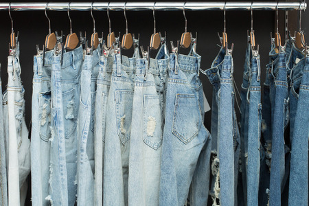 blue jeans on rack