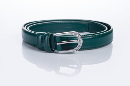 buckle: thin green female belt buckle with fine Stock Photo