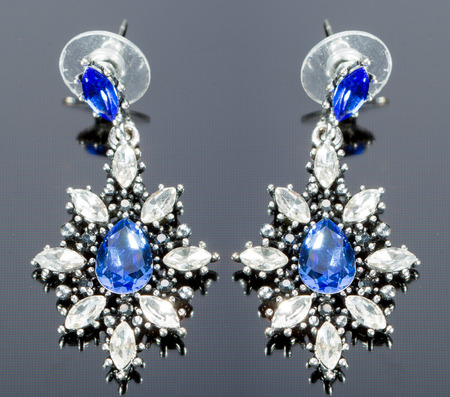 Pear Diamonds Earrings. blue gems photo