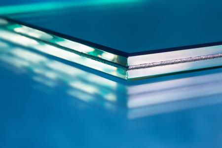 Glass roving fibre for pultrision process. Window fiberglass profile manufacturing. Plate glass, machined edge Foto de archivo