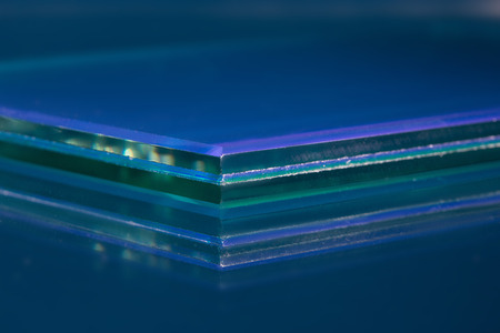 Glass roving fibre for pultrision process. Window fiberglass profile manufacturing. Plate glass, machined edge Stock Photo