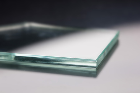 fiberglass: Glass roving fibre for pultrision process. Window fiberglass profile manufacturing. Plate glass, machined edge Stock Photo