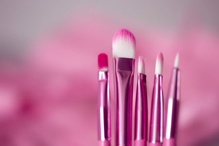 defining: pink professional cosmetic brush in bright background