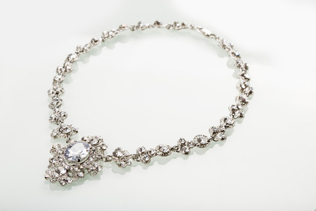brilliants: Silver necklace isolated on the white background