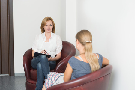 Woman with problem on reception for psychologist. life style