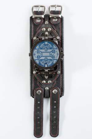 tachymeter: cool watch on a white background. Exclusive leather bracelet