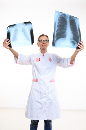 radiogram: doctor compares the two X-ray. White background Stock Photo