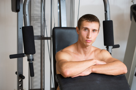 simulator: guy in a sports simulator. a man in the gym Stock Photo