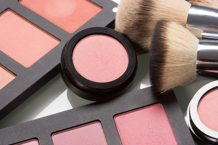 set makeup cosmetics. compact powder, mineral foundation and makeup brushes Reklamní fotografie