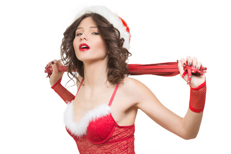 junge nackte m�dchen: Sexy Schnee-M�dchen mit einer Peitsche. Sex-Spielzeug. Isolierte wei�em Hintergrund
