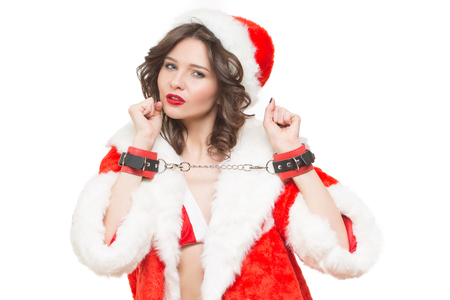 sex santa: Sexy Snow Maiden headphones for sex games. Isolated white background