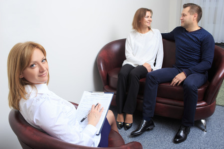 marriage counseling: adult couple with problem on reception for family psychologist
