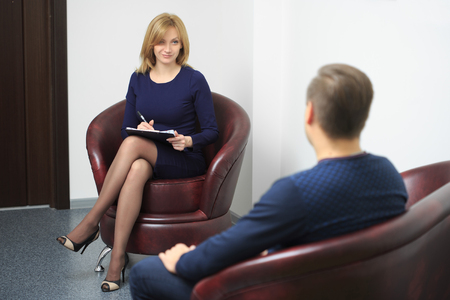 adult man on reception at the psychologist. psychological therapy session Stock Photo