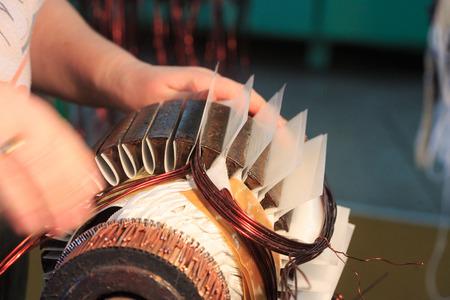 Stator of a big electric motor. repair factory Foto de archivo
