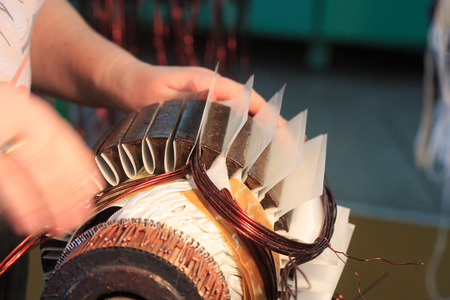 Stator of a big electric motor. repair factory Banque d'images
