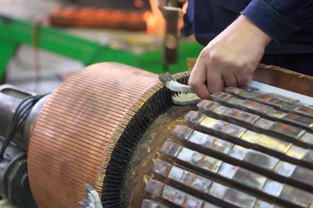 Stator of a big electric motor. repair factory Stock Photo