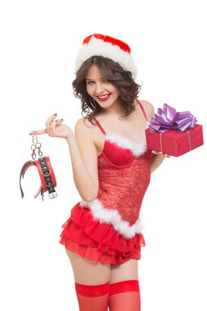 sexo: Auriculares doncella de la nieve atractivas para los juegos sexuales. Fondo blanco aislado Foto de archivo