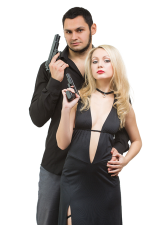crimes: Secret investigation. Man detective agent criminal and sexy spy woman with gun. Isolated on white background.