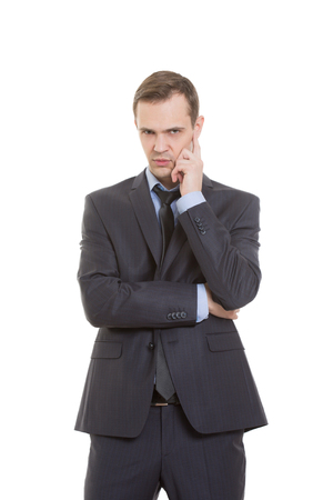 distrust: gestures distrust lies. body language. a man in a business suit isolated on white background