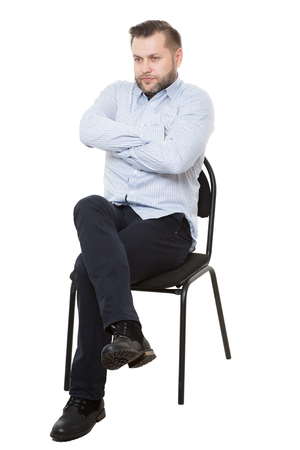 man sitting on chair. Isolated white background